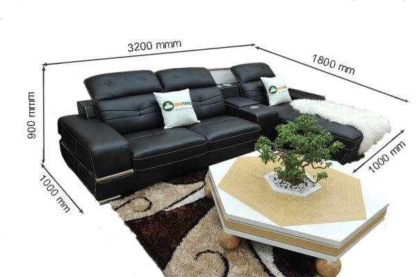 sofa da góc microfiber màu đen