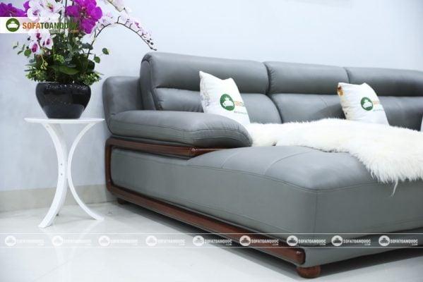 sofa da khung viền gỗ