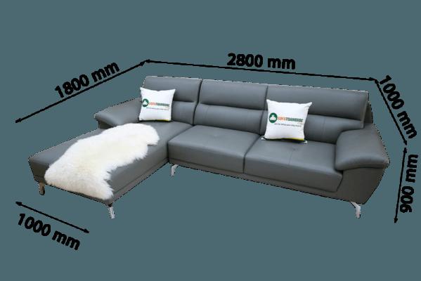 sofa góc chữ L màu xám đen