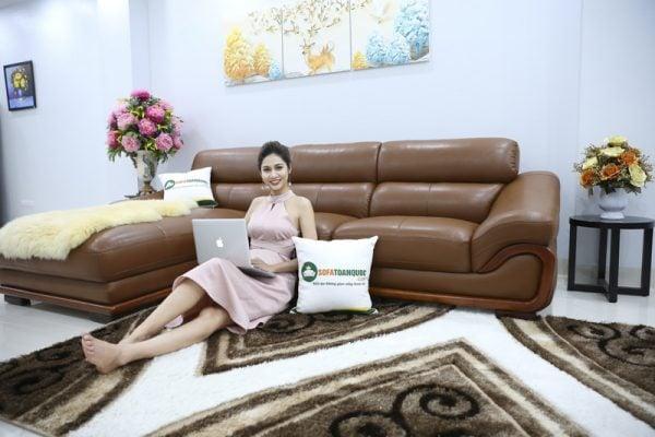 Bộ ghế sofa da thật 50% nhập khẩu trực tiếp từ Malaysia