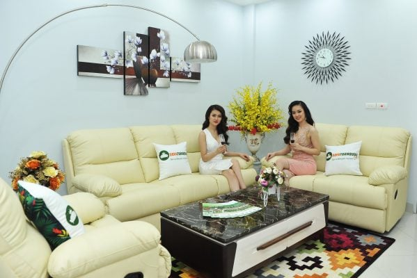 Bộ ghế sofa da đẹp sử dụng chất liệu da bò tót thật nhập khẩu cực đẹp
