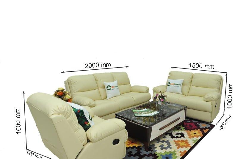 kích thước bộ ghế sofa 1-2-3