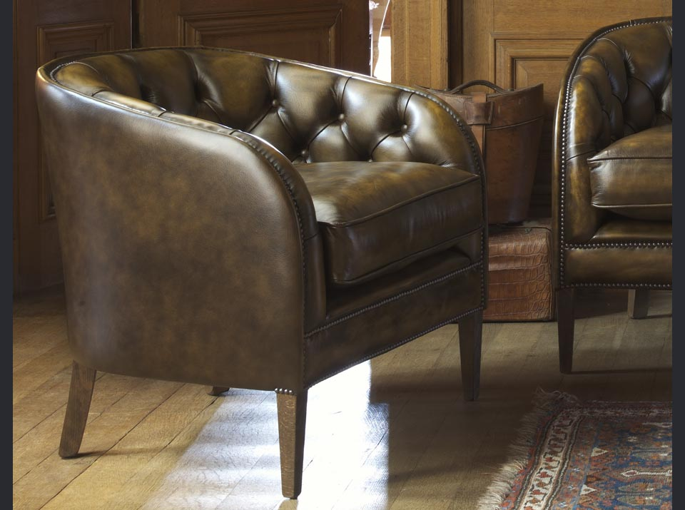 sofa đơn tân cổ điển da thật