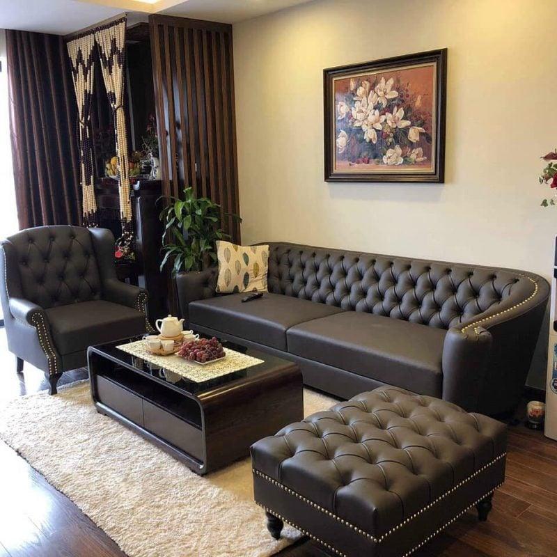 Bộ ghế sofa tân cổ điển đẹp và sang trọng, đẳng cấp. Bộ 3 ghế sofa văng, sofa đơn và đôn sofa đi kèm tinh tế khi bài trí trong phòng khách