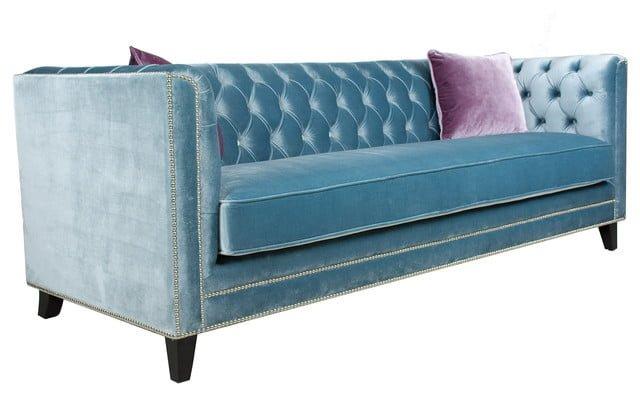 ghế sofa bọc vải nhung màu xanh phong cách tân cổ điển