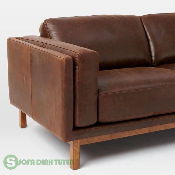 khung ghế sofa bọc da bằng gỗ tự nhiên