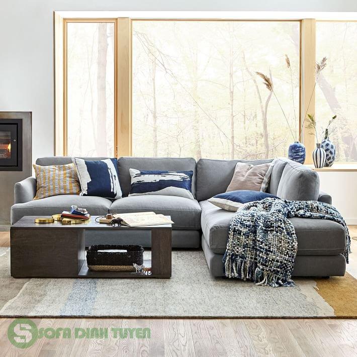 sofa góc bọc vải có tựa lưng thấp