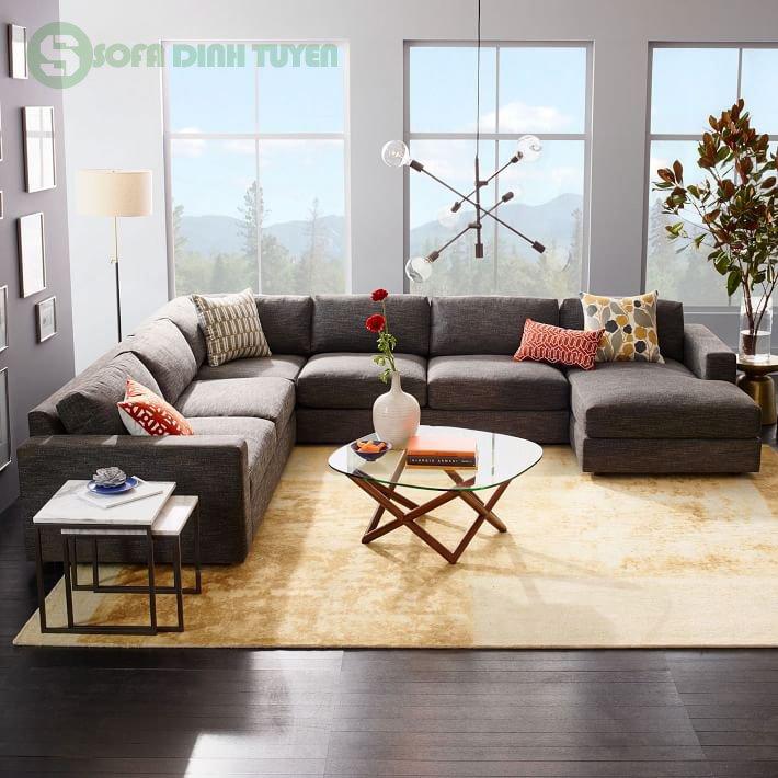 sofa bọc nỉ phòng khách rộng