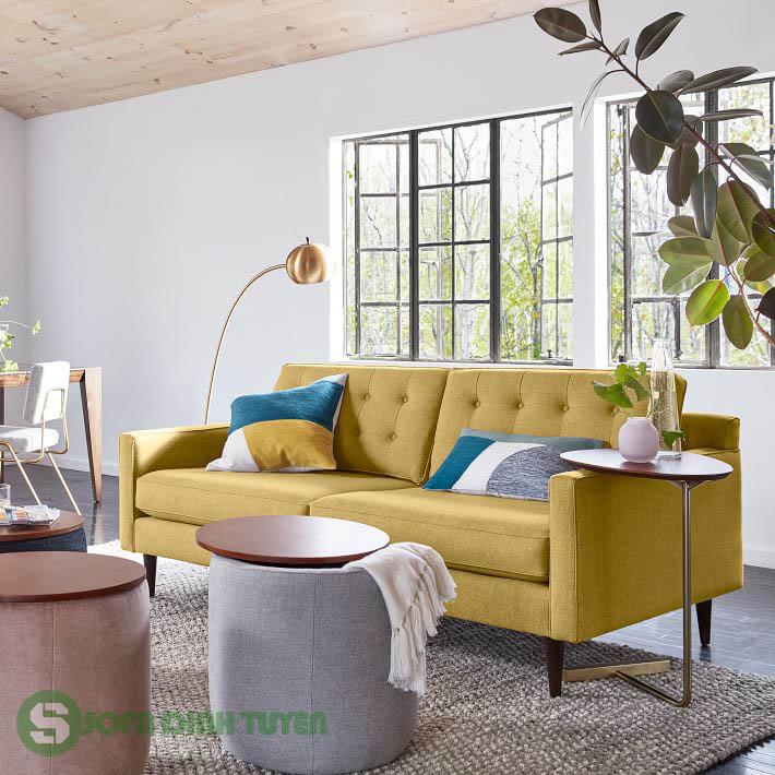 ghế sofa màu vàng văng 2 chỗ