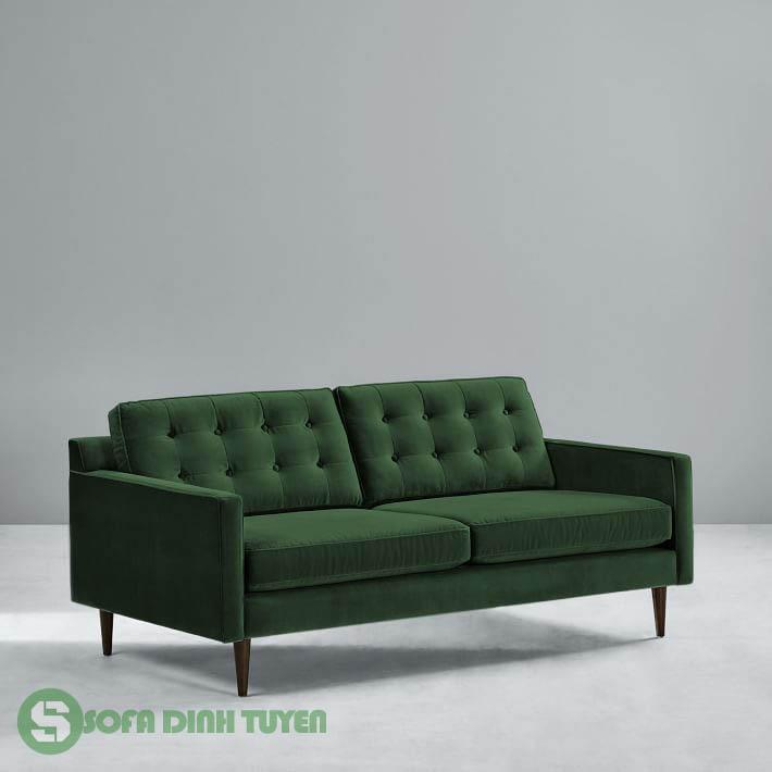 mẫu sofa bọc nỉ màu xanh lá cây.