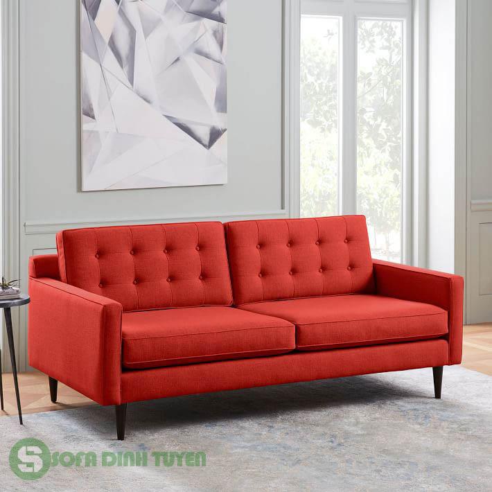 Bộ sofa bọc nỉ màu đỏ rực rỡ
