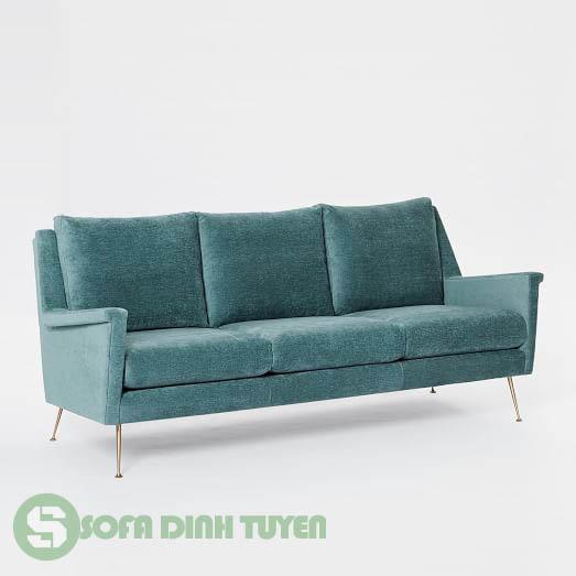 sofa văng 3 chỗ màu xanh ngọc chân inox