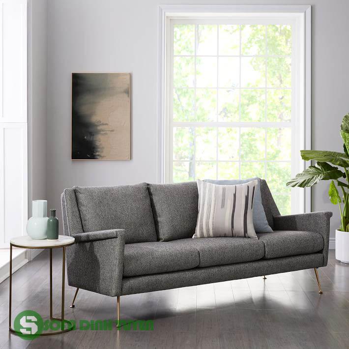 sofa văng 3 chỗ màu xám bọc nỉ chân inox