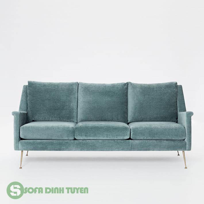 sofa văng 3 chỗ bọc nỉ màu xanh ngọc