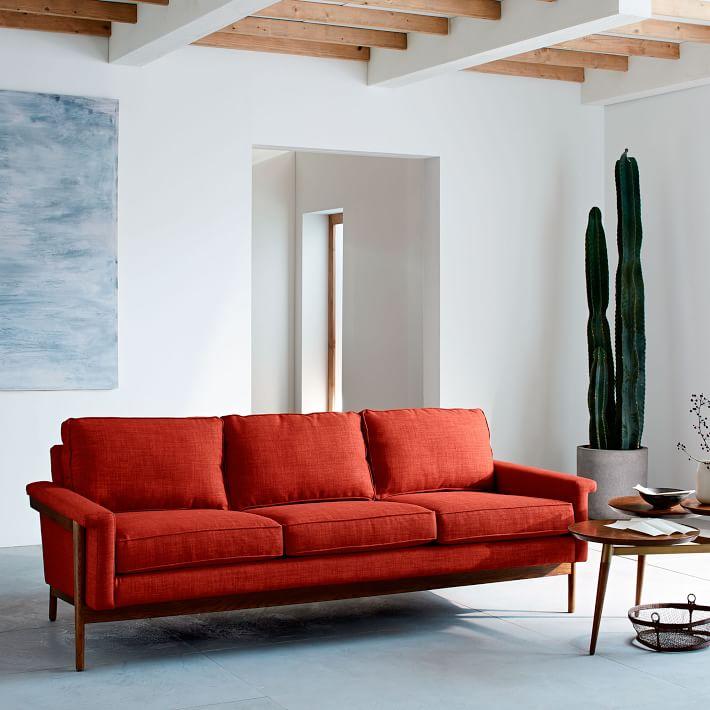 sofa văng 3 chỗ bọc nỉ màu đỏ