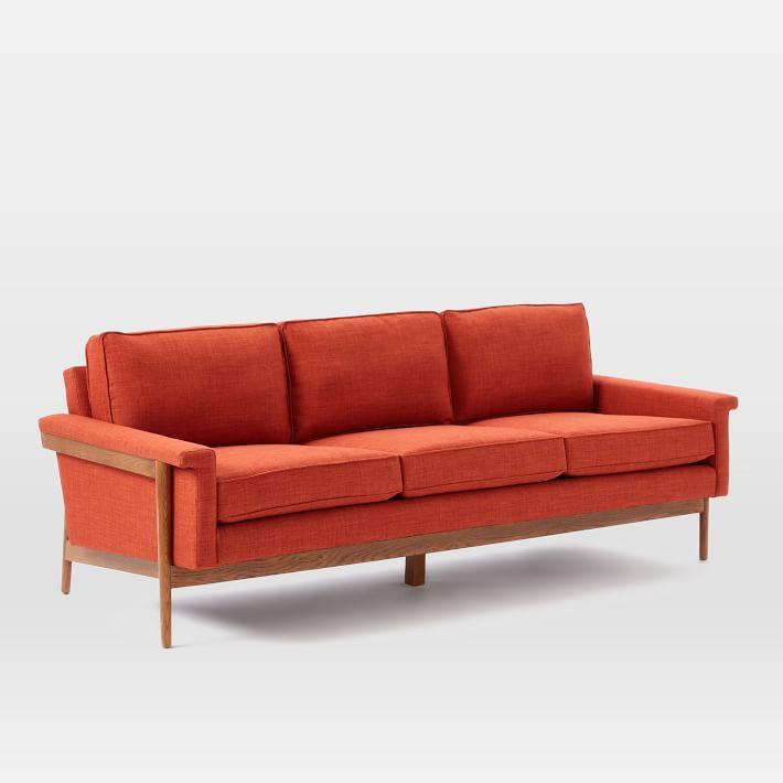sofa khung gỗ tự nhiên 3 chỗ màu đỏ