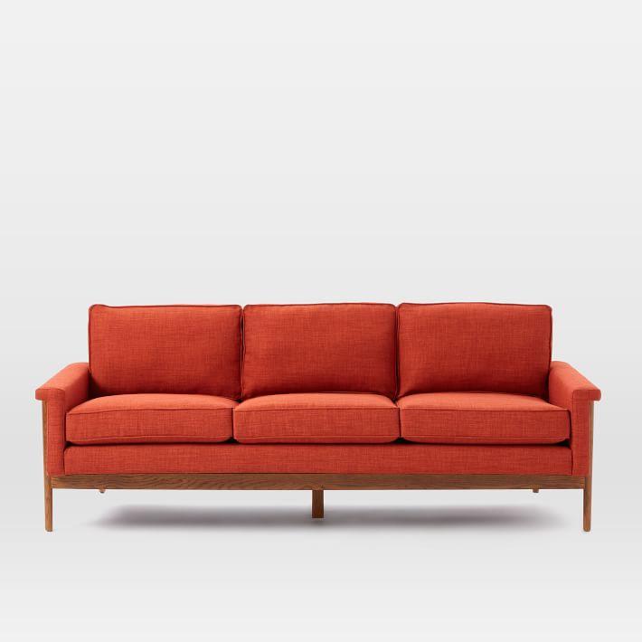sofa văng dài 3 chỗ bọc nỉ màu đỏ
