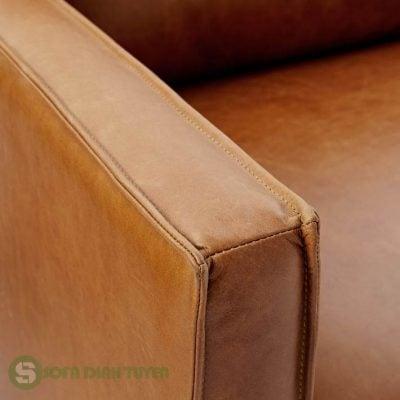 sofa bọc da màu nâu bò