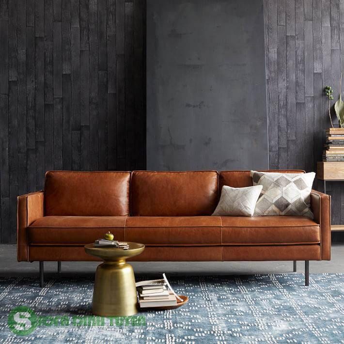 sofa da màu nâu dạng văng dài