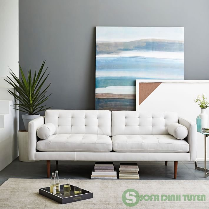 ghế sofa da màu trắng đẹp