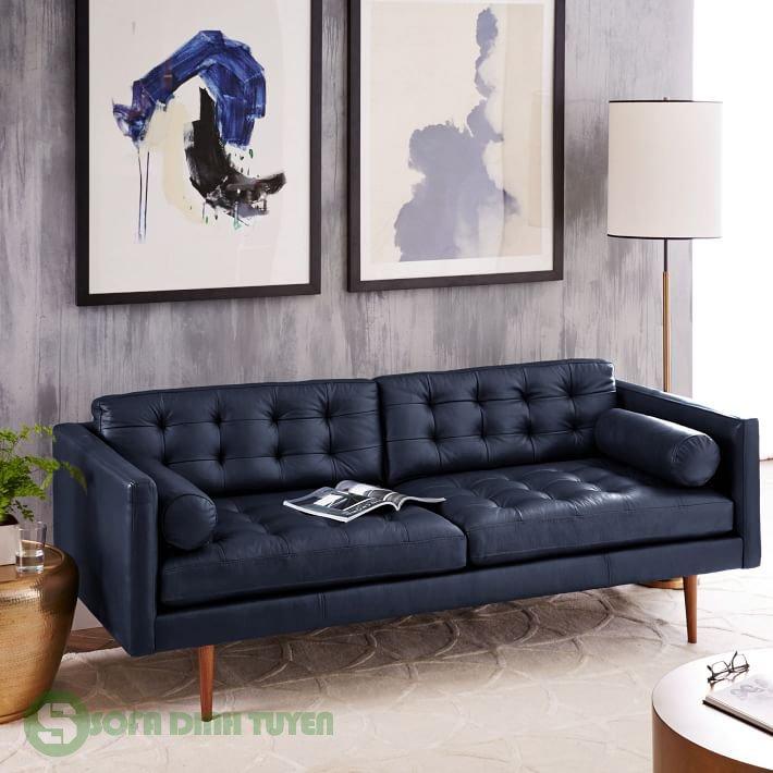 ghế sofa da nhỏ màu xanh