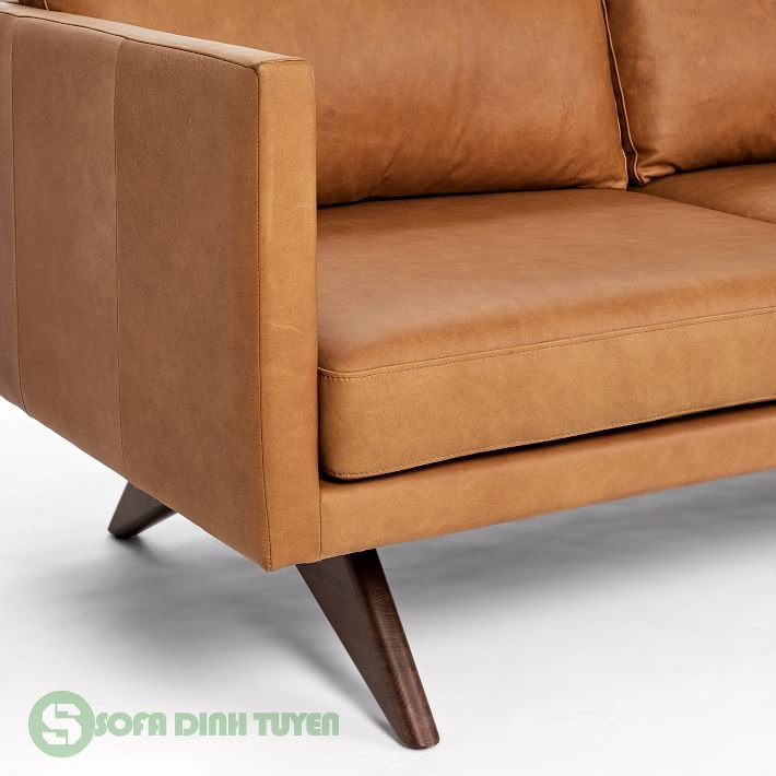 ghế sofa bọc da 3 chỗ chân ghế gỗ sồi chữ V