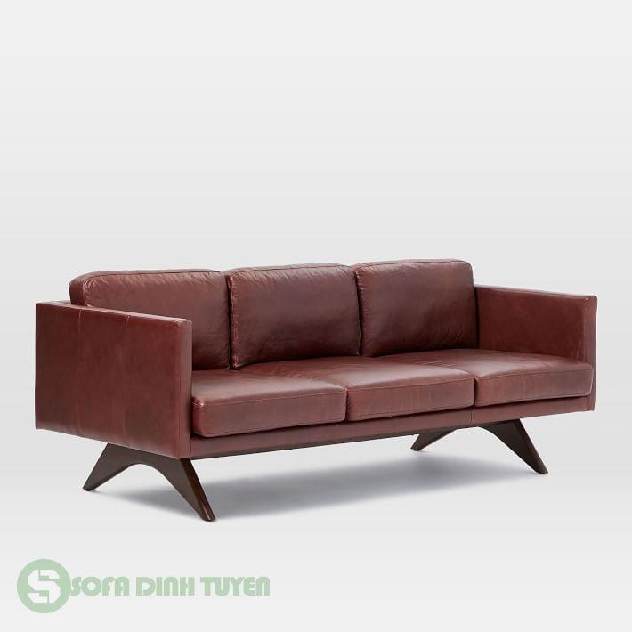 sofa màu nâu đỏ đẹp chất liệu da 3 chỗ