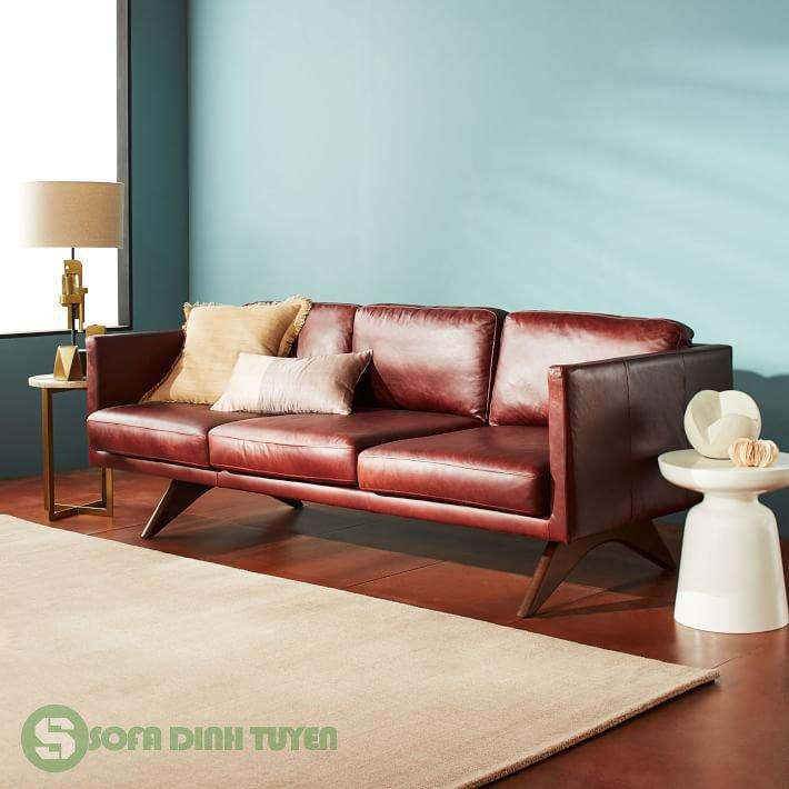 ghế sofa da 3 chỗ màu nâu đỏ