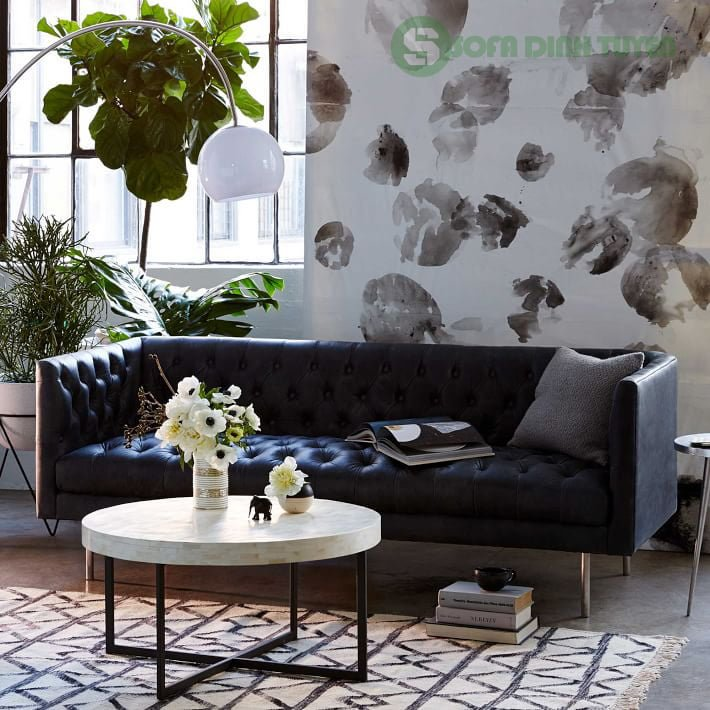 Ghế sofa da màu xanh nước biển phong cách tân cổ điển.