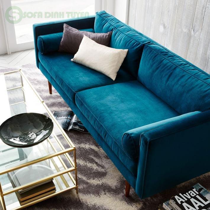 bộ ghế sofa bọc vải màu xanh nước biển