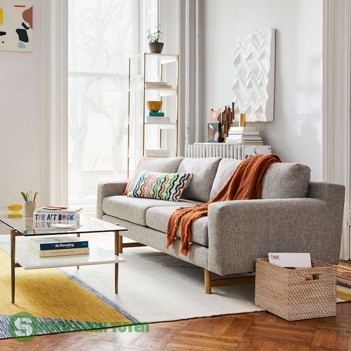ghế sofa màu xám nhỏ gọn