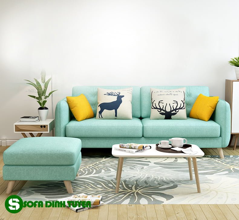 Sofa nhỏ gọn bọc vải SFV18 giúp phòng khách gia đình đẹp và sang hơn.