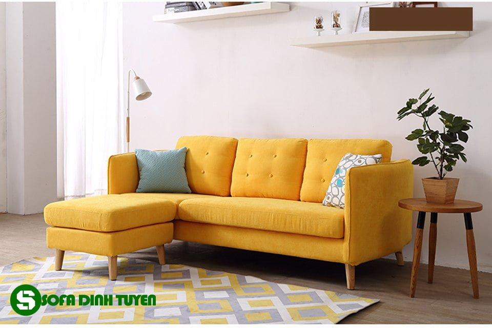ghế sofa bọc vải màu vàng cam