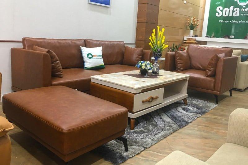 Bộ ghế sofa da kèm bàn trà mặt đá sang trọng và đẳng cấp.