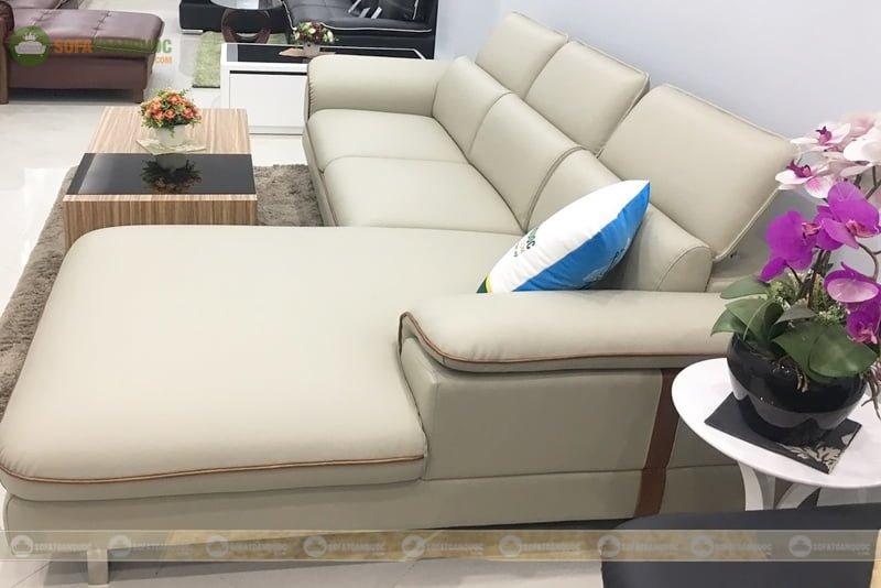 Ghế sofa góc bọc da sử dụng đệm rời tựa rời dễ thay mới, vệ sinh và làm sạch
