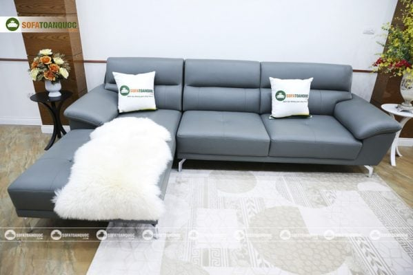 ghế sofa màu xám chân inox bọc da công nghiệp