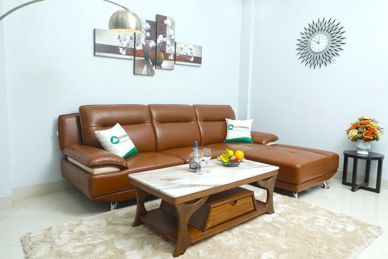 ghế sofa góc màu nâu kích thước nhỏ