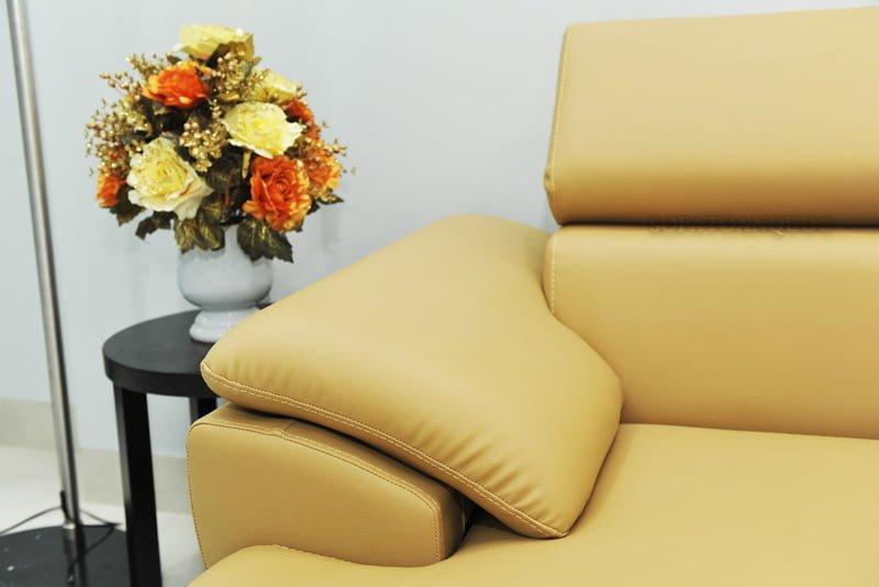 ghế sofa da có tay vịn thấp