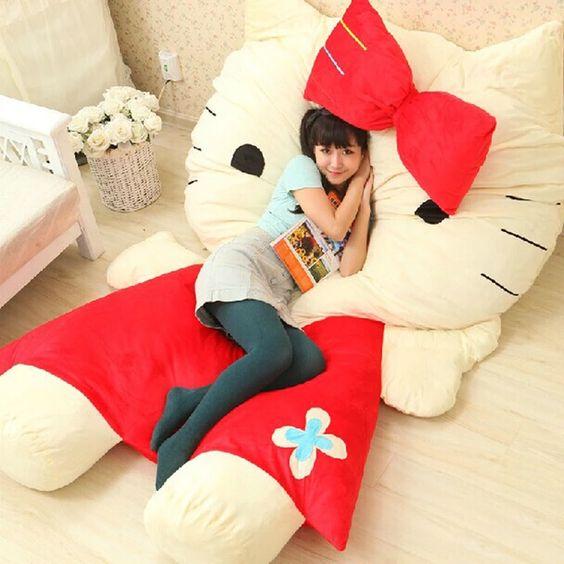 ghế sofa dạng bông hình dáng mèo hello kitty