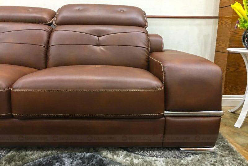 sofa da công nghiệp màu nâu đẹp và sang