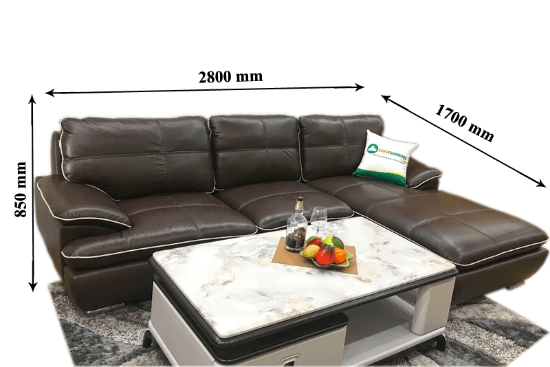 Kích thước ghế sofa tiêu chuẩn hợp với mọi không gian phòng khách.