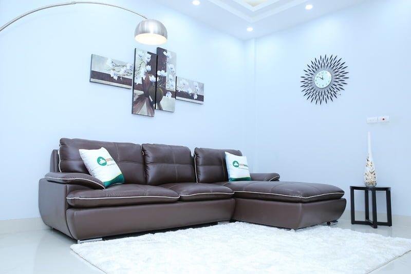 Chất liệu da thật 50% bền đẹp và sang trọng, đẳng cấp tinh tế của bộ ghế sofa