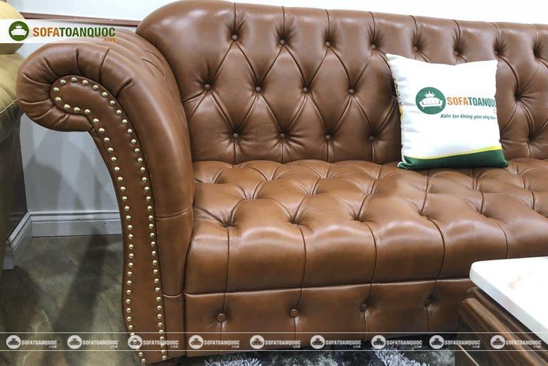ghế sofa tân cổ điển cao cấp bọc da thật