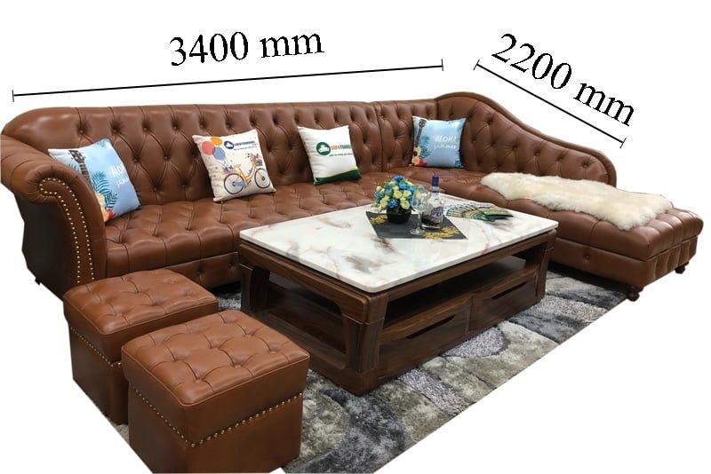 Kích thước bộ ghế sofa thích hợp với những không gian rộng rãi.