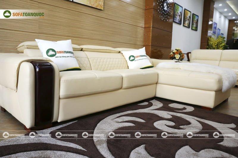 bộ ghế sofa góc phải màu trắng kem