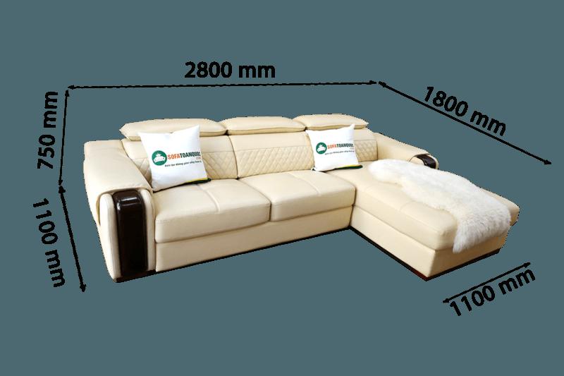 kích thước bộ ghế sofa phòng khách dài 2,8m