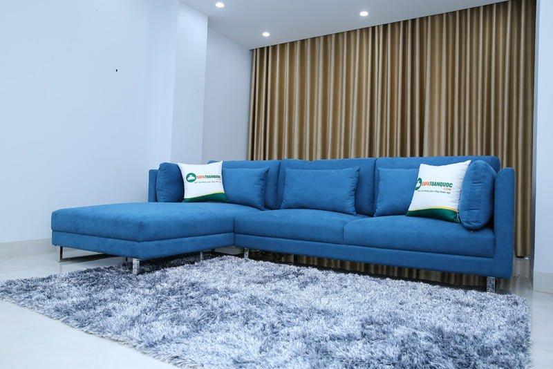sofa góc màu xanh thiên thanh chân iox