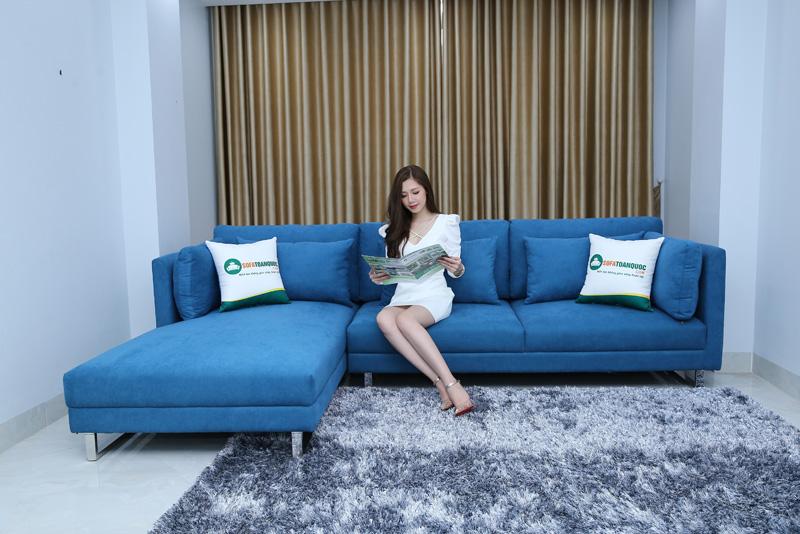 bộ ghế sofa góc bọc vải màu xanh