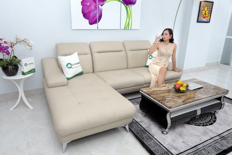 Sofa góc trái sang trọng đẳng cấp sử dụng da công nghiệp.