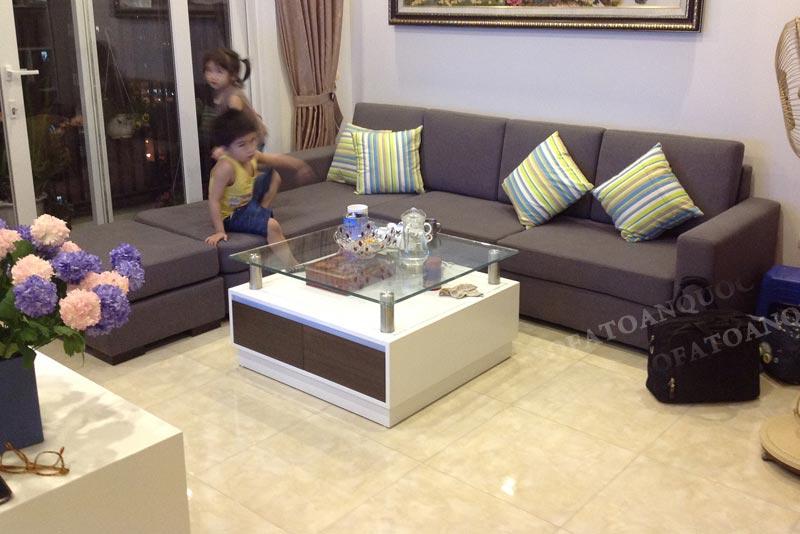 sofa góc cho chung cư màu xám đen